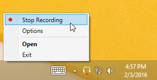 Recording Indicator and tray right click menu