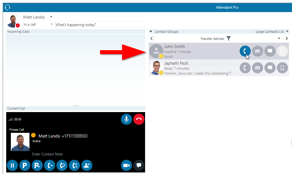 Transfer Advisor Skype for Business Attendant Console