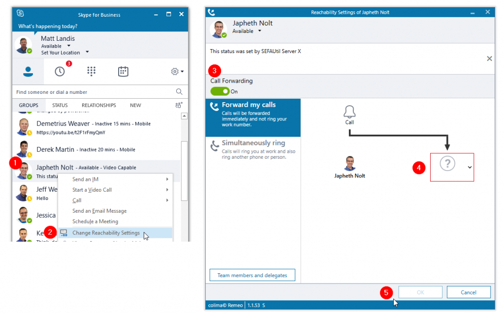 Colima Remeo Enables Users to Easily Change the Skype for Business Presence, Personal Note & Call Forwarding Settings of a Colleague