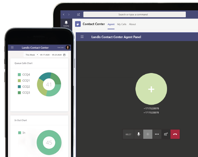 A screenshot of the Landis Contact Center for Microsoft Teams in use