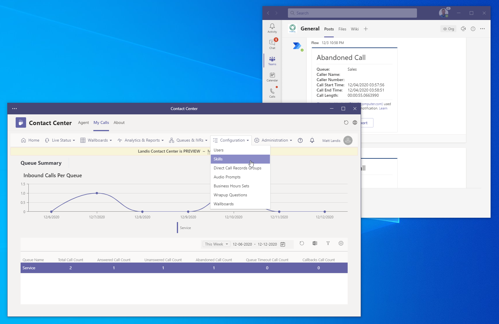 Microsoft Teams App Pop Out Landis Contact Cente