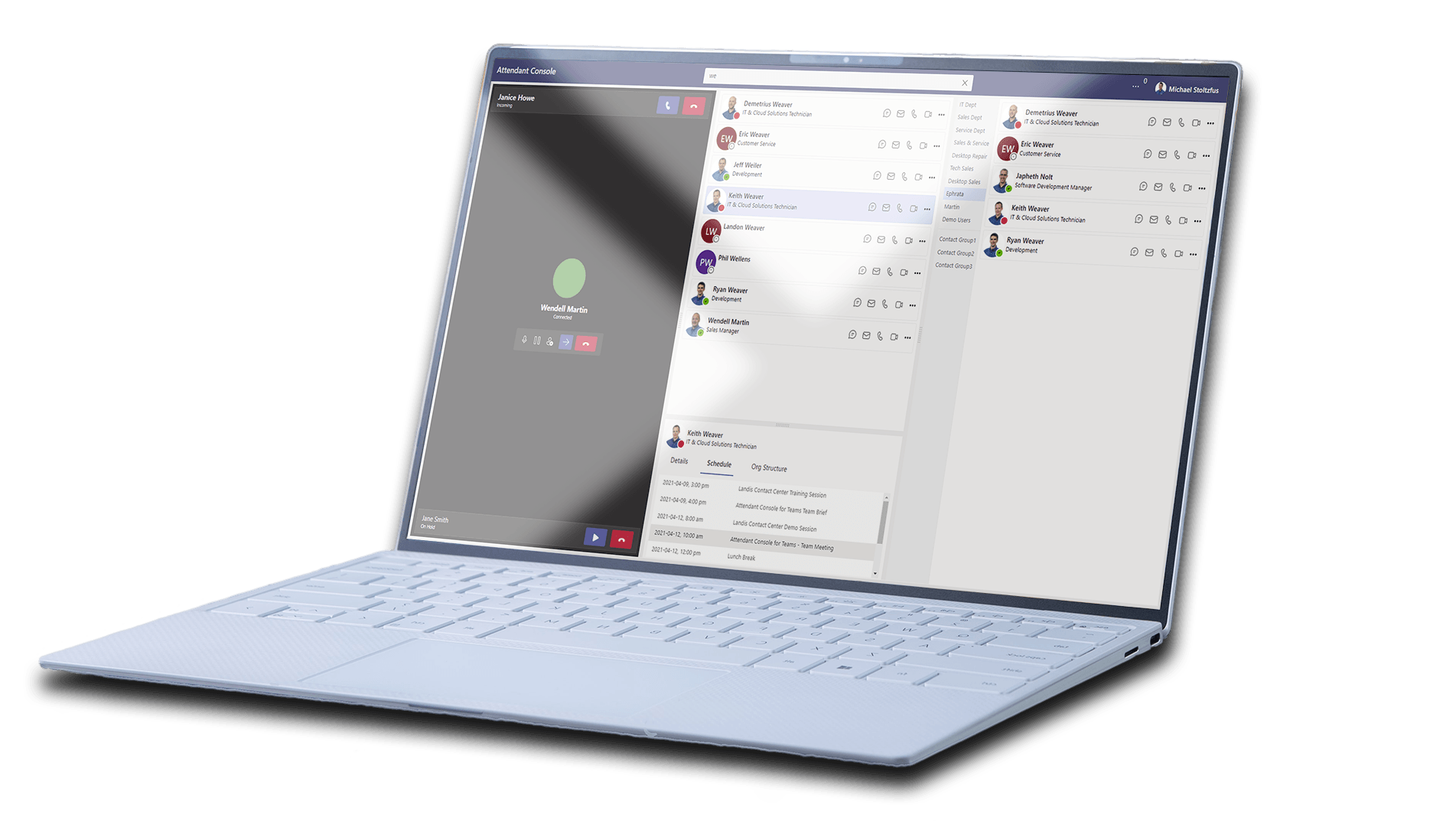 A screenshot of the Landis Attendant Console for Microsoft Teams Alpha